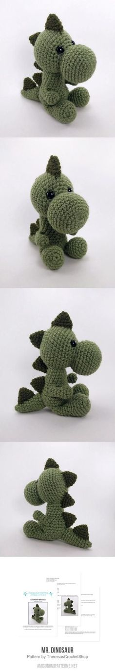 Mr. Dinosaur Amigurumi Pattern - crochet dinosaur - by Theresa's Crochet Shop