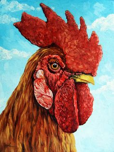 "Painting a Day Art Blog - Original Oil Paintings on Canvas by Linda Apple: Rooster farm animal portrait ""King of the Roost"""