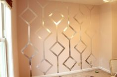 This would be a great alternative since I can't paint my apt, I can use metallic tape from Home Depot!