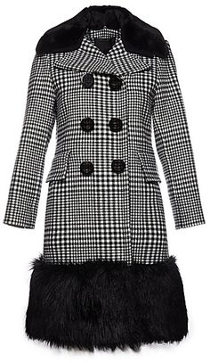 CONTEMPORARY Plaid Coat With Faux Fur