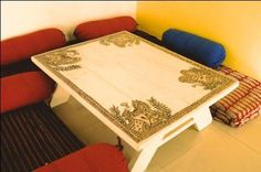 Dining table, handpainted by Madhubani artists from Bihar