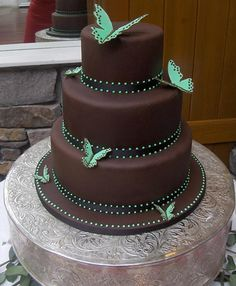 Butterfly Wedding Cake by vanessa.resendes, via Flickr Love the brown. <3