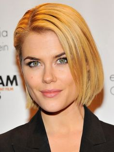 This chin-length bob suitsRachael Taylor's straight, fine hair. Blow dry hair straight with a paddle brush, then smooth some styling balm through strands with your fingers, combing one side behind your ear for a slick finish. via StyleList