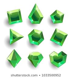 Gems Set. Cartoon green different shapes crystals, gemstones, diamonds vector gui assets collection for game design. Isolated vector elements. Gui elements, vector games assets. Mobile games Game Ui Design, Icon Design, Crystal Drawing, Vector Game, Pixel Animation, Diamond Vector, Manga Tutorial, Weapon Concept Art, E Mc2
