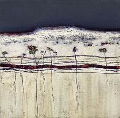 "WHITE CLIFFS III- Contemporary Abstract Winter Landscape Painting by Cristina Del Sol Mixed Media ~ 19.75"" x 19.75"""