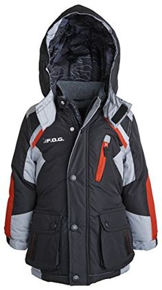 London Fog Little Boys Quilted Warm Winter Puffer Coat with Removable Hood -- Click here for more details @