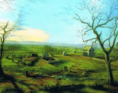 Rock Hill Farm as it might have appeared circa 1820, oil painting by Kevin Rice
