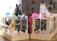 sewing, crafts, party inspiration: American Girl Horse Stable Knockoff (Tutorial) - Over 60 Amazing American Girl Doll Crafts and Fun Ideas! American Girl Parties, American Girl Crafts, American Girls, American Girl House, Crafts For Girls, Diy For Girls, Ag Dolls, Girl Dolls, American Girl Catalog