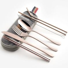 Stainless Steel Utensil SetFor the more refined diner. Get your hands on these chic reusable utensils, made in various colours and finishes. Choose a frosted set or classic style. Each order includes: Straw, Spoon, Fork, Chopsticks, and Portable Case. Don't be left without options the next time you are eating out. Join the movement - save the world one straw at a time. Durable Stainless Steel Fashionable Eco-Friendly Portable Reusable Sustainable Full Set Utensil Set, Flatware Set, Baguette, Plastic Forks, Metal Straws, Chopsticks, Dinnerware Sets, Brush Cleaner, Camping