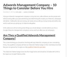 Discover the 10 things you need to ask before you choose an Adwords management company to look after your Google Adwords campaigns