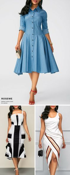 Midi dresses for women, free shipping worldwide at rosewe.com, check them out.