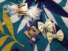 Bow n feather hair clips