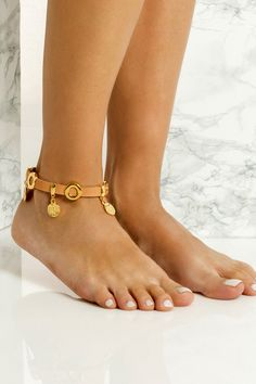 Handmade chunky leather anklet with gold plated embellishments that don't tarnish with the sun. It perfectly matches with slip-on sandals, wear it with cropped hemlines all summer long, Gold Anklet, Anklets, Boho Style, Boho Chic, Anklet Bracelet, Bracelets, Natural Tan, Athens Greece, Black Sandals