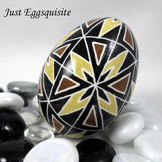 Pysanky Pisanki Ukrainian Polish Easter Egg Brown Geometric