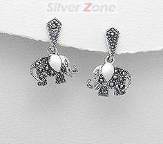 Cercei elefant din argint cu marcasite 11-1-i31170