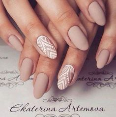 Matte nude nails with white details - LadyStyle