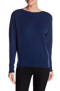 Cashmere Ribbed Long Sleeve Pullover Sweater