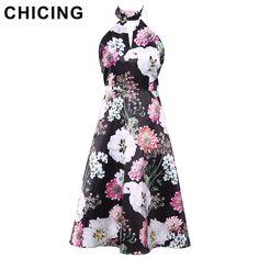 CHICING High Street Women Floral Printed A-Line Dresses Fashion 90s Tank Halter Elegant Midi Dress Ladies A1703080