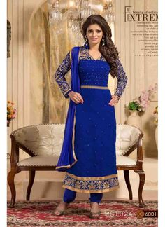 StyleFunia Royal Blue Designer Embroidered Straight Suit