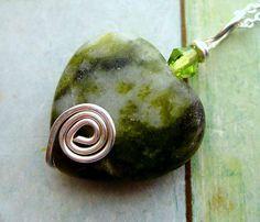 Connemara Marble Heart Pendant.  Irish Stone by HandmadebyAmor