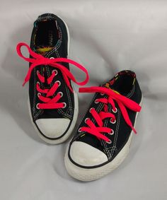 9d7f32b74ece2 Converse All Star Girls Size 12 Black White 5 Tongues Chucks Pink Laces