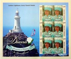 """Princess Diana """"Corbiere Lighthouse"""" Plate Block of 6 Stamps Issued by Sierre Leone, Diana - Princess of Wales 1961 - 1997."""