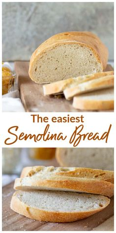 A gorgeous golden loaf of Semolina Bread, or Italian bread. It's made with regular wheat flour and durum flour. The crust is crackly and the texture creamy and just plain amazing!. One of the best bread recipes I ever made. #bread #semolina #baking #yeast