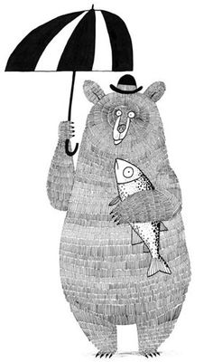 Jim Field Shop - A Bear, Brolly and Salmon. Drawn in dip pen, this is a scanned version of the original artwork.