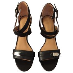 Pre-owned Coach Black Leather Sandals (€105) ❤ liked on Polyvore featuring shoes, sandals, black, coach sandals, leather sandals, black leather shoes, black shoes and coach footwear