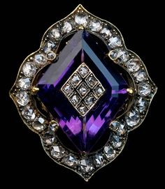 An Impressive Antique Victorian Amethyst, Diamond and Gold Ring, Circa The ring features a step-cut diamond shape amethyst inlaid with a diamond encrusted panel. The amethyst is set in an ornate bezel embellished with rose cut diamonds. Diamonds And Gold, Gold Diamond Rings, Diamond Jewelry, Gold Jewelry, Nautical Jewelry, Ruby Rings, Jewelry Rings, Gold Rings, Pearl Rings