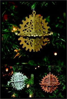 """Steamflake"" Christmas tree ornament by Bruteforce Leather Christmas Tree Ornaments, Christmas Crafts, Arts And Crafts, Diy Crafts, Diesel Punk, Junk Drawer, Set Design, Steam Punk, Wonderful Time"