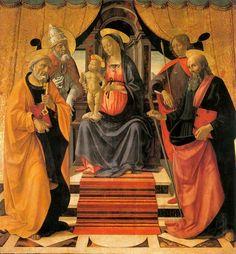 Domenico Ghirlandaio - Madonna in trono col Bambino e santi - tempera su tavola di quercia - 1479 circa - Duomo di San Martino a Lucca.