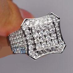 Men's 10K White Gold Diamond Pinky Engagement Wedding Band Ring 1.49 Carat #Silvergemsjewery #MensWeddingRing