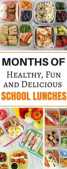 Months worth of healthy make ahead school lunch ideas for kids, for teens, and for adults! These easy no sandwich bento box recipes are perfect for picky eaters. There are so many ideas for cold lunches even including vegetarian and gluten free ideas for preschoolers and even for teenagers! #easylunchboxes #lunch #lunchideas