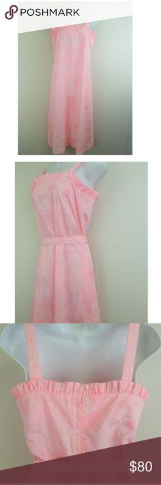 Vtg LILLY PULITZER  Sz 10 Pink Frilly Dress Lilly Pulitzer (Vintage 60s) Vanda/ KeyWest Hand Print Tag Size: 10 Material: Polyester and Cotton Color:Pink and White Made in: USA Length : 43.5 Underarm to Underarm: 16.5 Waist (Straight across and flat): 16 Hip:20 Hem: 23.5 Straps: 7.5 Belt:71 Sleeveless with ruffles and concealed back zip. A LOVELY shade of pink with faint white butterflies and flowers. Removable waist belt has ruffled ends and can be worn any number of ways. Pockets Does not…