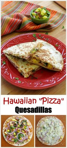 Hawaiian Pizza Quesadillas - easy recipe that's ready in under 30 minutes. Perfect for last minute dinners and (Under 30 Minutes) Easy Dinner Recipes, Appetizer Recipes, Breakfast Recipes, Easy Meals, Appetizers, Lunch Recipes, Dinner Ideas, Breakfast Ideas, Cake Recipes