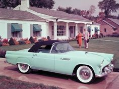 On October 22, 1955 the #FordThunderbird , or T-Bird, went on sale in America, creating a market niche that would become known as the personal luxury car.  Positioned directly against the Corvette, the 4.8-litre V8-powered convertible outsold the Chevrolet by more than 23-to-one in its first year and went on to sell over 4.4 million units over eleven model generations from 1955 to 2005.