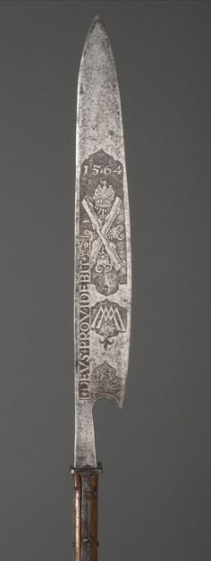 "State Glaive (Cousa) for the Guard of Maximilian II of Austria.  Artist/maker unknown, Southern German or Austrian. Made for the ""Hartschiere"" guard of Holy Roman Emperor Maximilian II, ruled 1564 - 1576. Dated 1564."