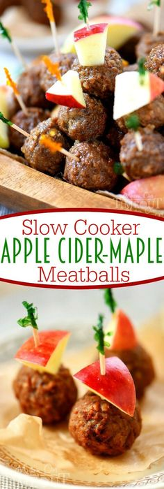 Easy Slow Cooker Apple Cider Maple Meatballs have all the flavors of fall in a t. Easy Slow Cooker Apple Cider Maple Meatballs have all the flavors of fall in a tasty little package! Perfect for your next game day celebration! Slow Cooker Apples, Slow Cooker Recipes, Beef Recipes, Cooking Recipes, Meatball Recipes, Recipies, Fall Appetizers, Appetizer Recipes, Meat Appetizers