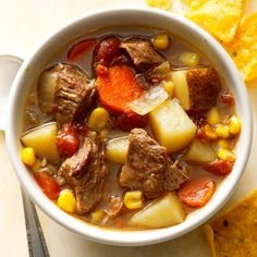 Slow-Cooked Mexican Beef Soup Recipe -My family loves this stew, and I'm happy to make it since it's so simple! You can serve with corn bread instead of corn chips to make it an even more filling meal. Mexican Beef Soup, Mexican Soup Recipes, Beef Soup Recipes, Dinner Recipes, Chilli Recipes, Dinner Ideas, Chicken Recipes, Crock Pot Slow Cooker, Slow Cooker Recipes