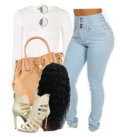 """""""Bout to head out with fam"""" by trillest-queen ❤ liked on Polyvore featuring Topshop, MICHAEL Michael Kors, Wet Seal and Jessica Simpson"""