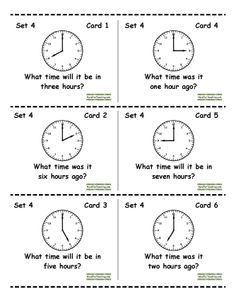Here's a great set of cards for a time center. Includes telling time and elapsed time. Recording sheet included.