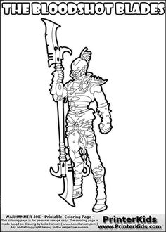 Coloring page showing a high detail Dark Eldar Hellion from Warhammer 40000 (Warhammer 40k) drawn standing from the front. The Dark Eldar Hellion colouring sheet was intended for kids to print out for coloring or for online coloring