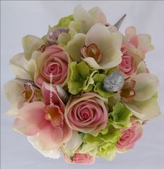 Orchid Wedding | Beach Wedding Bouquet Set Of Artificial Real Touch Pink and Green ...