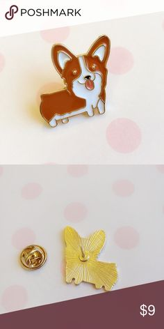 "🆕🐶Cute Corgi Gold Lapel Pin ~ Made in Japan 🆕 1 unique and high quality gold pin featuring a super cute Corgi. Display your love for corgis with this cute lapel pin. Perfect for dog lovers!  ❤️ Pin is 1"" x 1"" (2.6cm x 2.6cm). ❤️ Imported from Japan. Tagged for exposure.  ❤️ Feel free to make an offer or ask questions.   Keywords: Lapel, pin, brooch, accessory, school, accessories, Japan, Japanese, kawaii, cute, stationery, Sanrio, San-x, anime, manga, corgi, shiba, dogs, cartoon…"