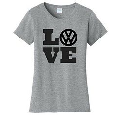 Vdubster Graphic Tees - LOVE VW Shirt  Available Online  #VW #Volkswagen #Tshirt #Love #Gray #Shirt #Womens #Beetle