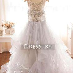 2017 long prom dress, bead scoop long prom dress wedding dress