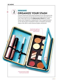 Organize your makeup stash with the Dollup Case makeup clutch.  It's your 'face in a case' with all your basic beauty essentials in one place.