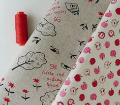 Red Riding Hood & Apple Fabric Set 2 Half Yard by aFabricDay, $12.00