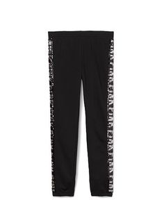 """Skinny Pant PINK  JF-330-373 (093) The flirty, slim fit of leggings meets the soft, comfy feel of sweats – get ready to fall in love with the Skinny Pant. Must-have sweats by Victoria's Secret PINK. Must-have sweats by Victoria's Secret PINK. Slim fit Flocked velvet graphics Skinny elastic bottom Cozy, super soft fleece 27"""" inseam Imported cotton/polyester"""